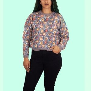 90s Floral Sweater M